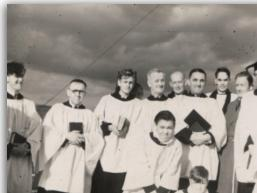 The choir singing from the tower top, 1950s - Click to Enlarge