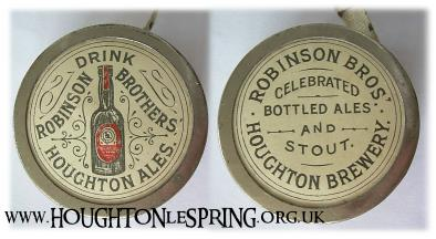 This double-sided tape measure featured ads for Houghton Ales and the Robinson Bros Brewery's bottled ales and stout.