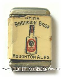 A promotional match box and striker advertising Houghton Ales and the Robinson Bros Brewery