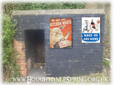 Brick built WWII air raid shelter at Houghton-le-Spring with vintage public service messages