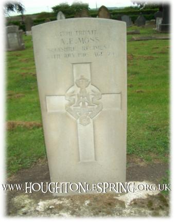 War grave for Private A.E MOSS, Houghton-le-Spring